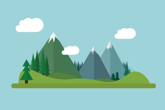 An illustration of mountains
