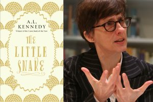 Photo of author A L Kennedy with the cover of her new book, A Little Snake