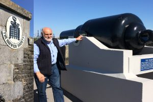 A photo of David Whittle telling us about the cannon at Harwich Redoubt