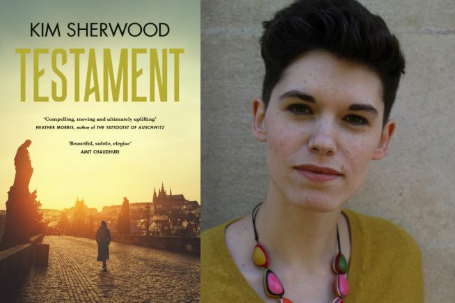 Image of Kim Sherwood the author, and the cover of her book, Testament