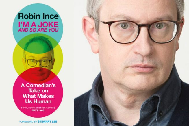 A photo of Robin Ince with the cover of his new book
