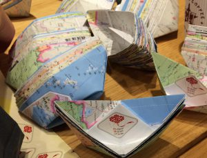 Origami boats made by Chinese schoolchildren
