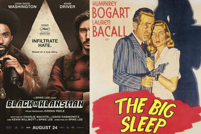 Film posters for BlackKlansMan and The Big Sleep