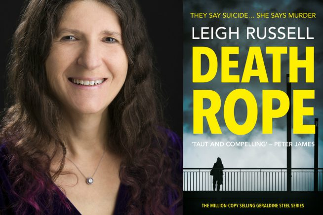 An image of author Leigh Russell with the cover of her latest book