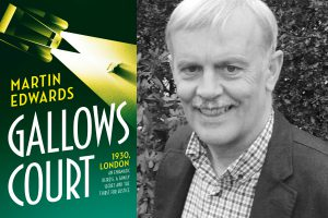 A photo of Martin Edwards and the cover of his new book, Gallows Court