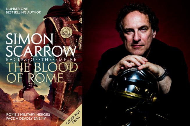 An image of author Simon Scarrow with the cover of his new novel