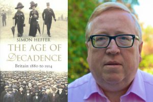 An image of Simon Heffer with the cover of his new book