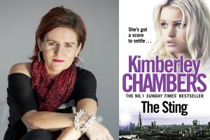 A photo of author Kimberley Chambers and the cover of her new novel, The Sting