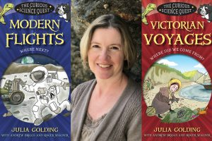 Image of author Julia Golding and covers of her books from the Science Quest series