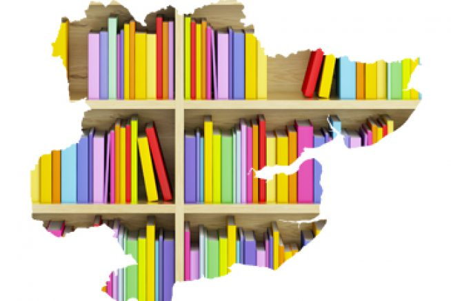 An image of books on a shelf in the shape of the county of Essex
