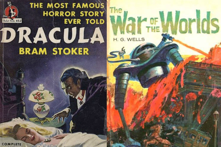 Book covers - Dracula and War of the Worlds