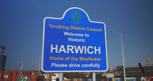 Video still showing welcome sign for Harwich